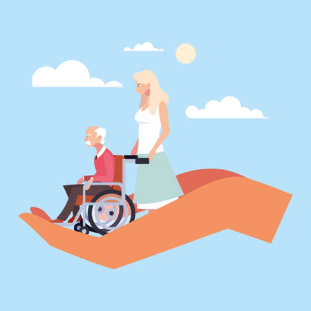 woman take care of old man, caring for the elderly vector illustration design