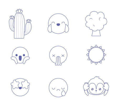 cactus and emojis with expressions over white background, vector illustration