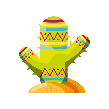 cute cactus on white background vector illustration design