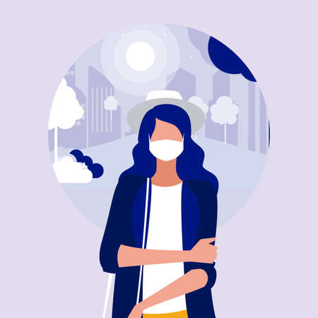 Woman with mask at park design of Covid 19 virus theme Vector illustration