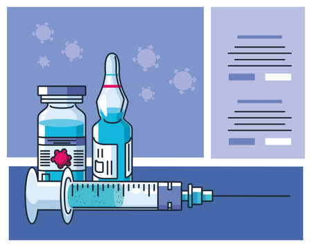 infographic with ampoule and syringe vector illustration design