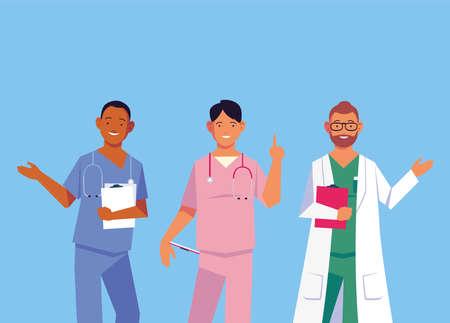 doctors men standing, medical team vector illustration design