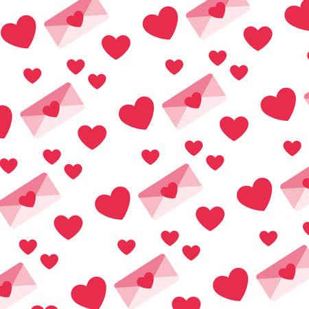 pattern of envelope with heart , valentines day vector illustration design Ilustração