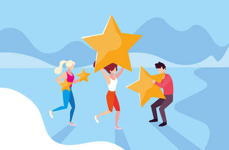 group of people celebrating with stars, business team success vector illustration design