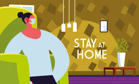 young woman using face mask at home vector illustration design Çizim