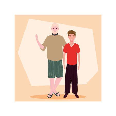men standing with different poses vector illustration design