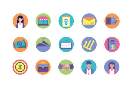 Business icon set design, Management workforce financial item corporate investment success technology and job theme Vector illustration Vettoriali