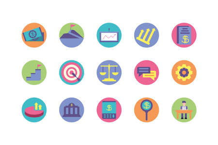Business icon set design, Management workforce financial item corporate investment success technology and job theme Vector illustration  イラスト・ベクター素材