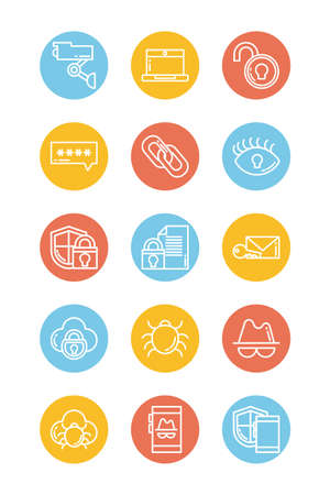 set of icons security, block and flat style icon vector illustration design 일러스트
