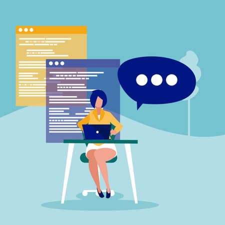 Businesswoman and website design, Woman business management corporate job occupation and worker theme Vector illustration