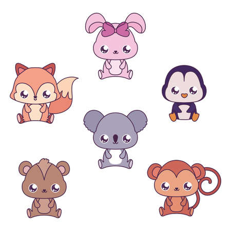 animals cartoons design, Kawaii expression cute character funny and emoticon theme Vector illustration