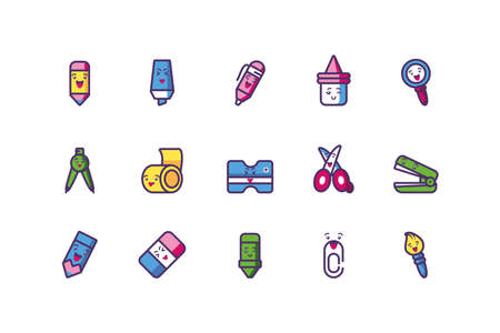 Icon set cartoons design, Kawaii school expression cute character funny and emoticon theme Vector illustration