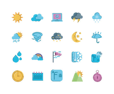 sun and weather concept of icons set over white background, colorful and flat style, vector illustration