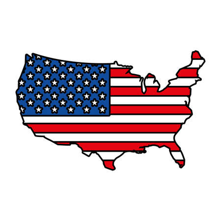 united states map with flag on white background vector illustration design