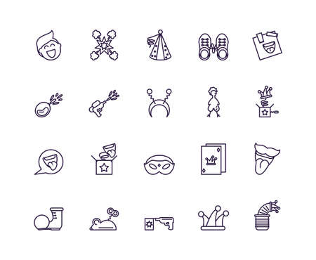 jester hat and fools day icons set over white background, line style design, vector illustration