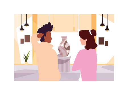 couple of people in contemporary art gallery, exhibition visitors viewing modern abstract paintings vector illustration design Ilustração