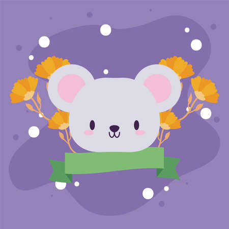 head of mouse kawaii with decor vector illustration design