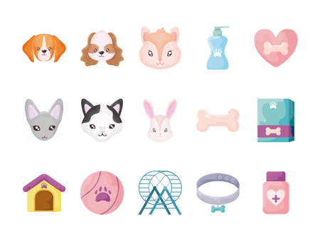 set of icons with domestic animals and accessories vector illustration design