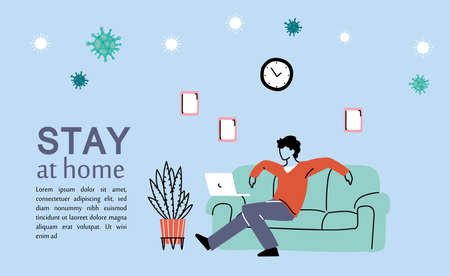 young man resting at home vectro illustration desing Banque d'images - 150891256