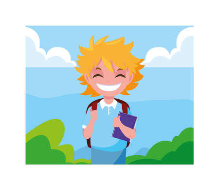student boy with school suitcase, back to school vector illustration design