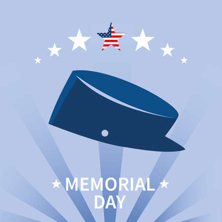 label memorial day with military hat vector illustration design