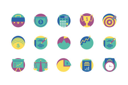 Icon set design, Strategy management business workforce financial corporate investment success and technology theme Vector illustration
