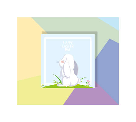 label happy easter day with cute rabbit vector illustration design