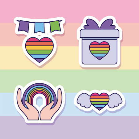 lgbt heart gift and rainbow design, sexual orientation and identity theme Vector illustration