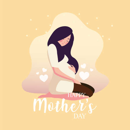pregnant woman with label happy mother day vector illustration design Çizim