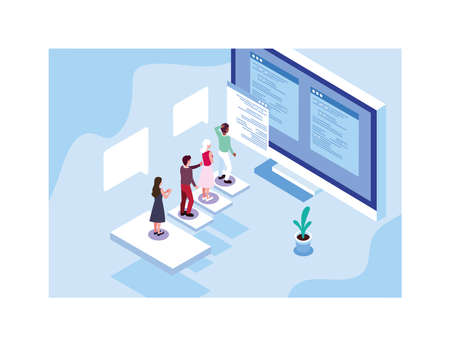 group of people working in front of computer screen vector illustration design