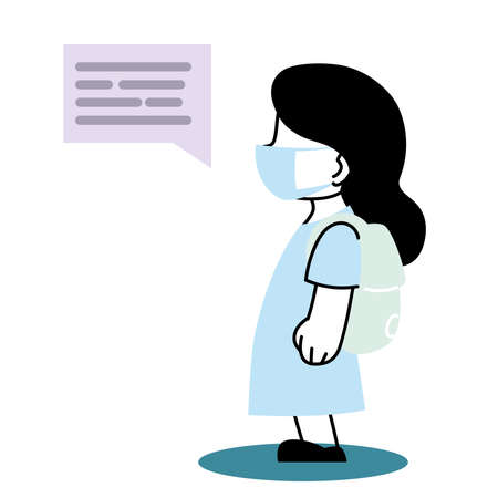 little girl at school talks by text message vector illustration desing Illustration
