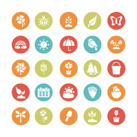 set of spring icons , block and flat style icon vector illustration design Vetores