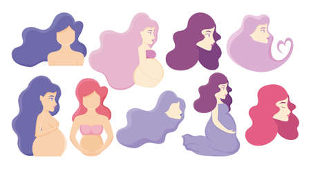 women and pregnant women icon set over pink background, vector illustration Çizim