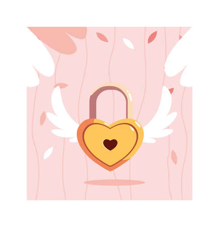 heart shaped security padlock with wings, valentines day vector illustration design