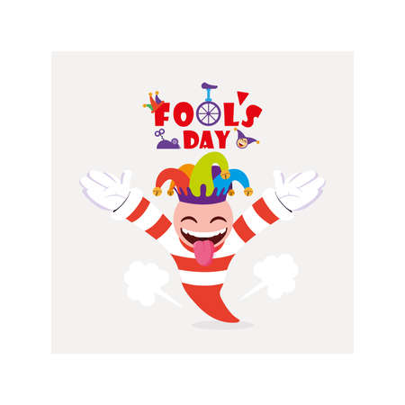 card with label april fools day, humorous party vector illustration design  イラスト・ベクター素材
