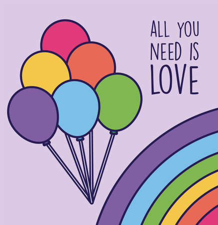 all you need is love and lgtbi balloons design, sexual orientation and identity theme Vector illustration