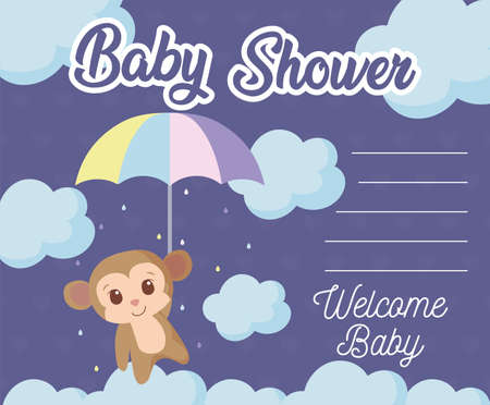 monkey cartoon design, Baby shower invitation party card and decoration theme Vector illustration Vectores