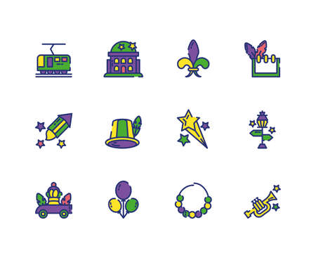 Mardi gras icon set design, Party carnival decoration celebration festival holiday fun new orleans and traditional theme Vector illustration Иллюстрация