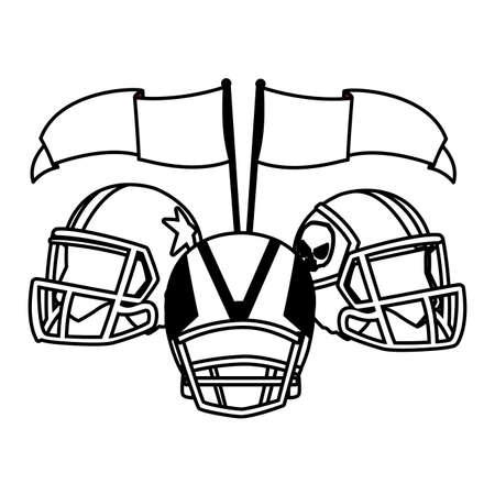 american football helmet on white background vector illustration design