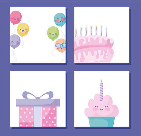Happy birthday card design with cute balloons, gift box and cartoon ballons over purple background, vector illustration Иллюстрация