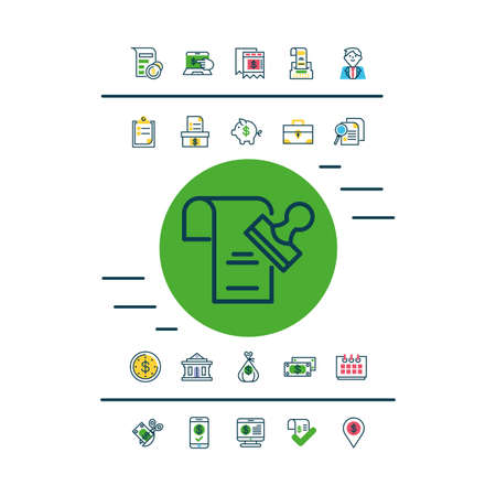 document and stamp and Tax day icons set over white background, half color style, vector illustration Illusztráció