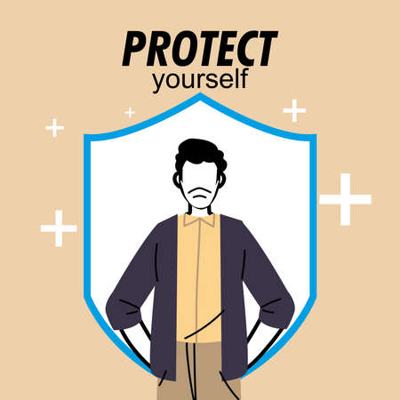 man with mask protecting himself vector illustration desing