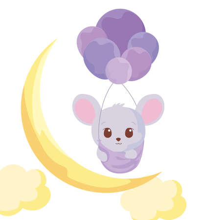 Cute mouse cartoon with balloons design, Animal zoo life nature character childhood and adorable theme Vector illustration Иллюстрация