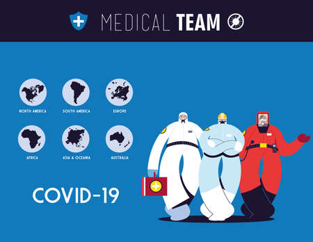 Frontline medical team working in different countries for health emergency vector illustration design 일러스트