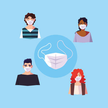 people of different nationalities in white medical face mask for prevent virus, coronavirus prevention vector illustration design