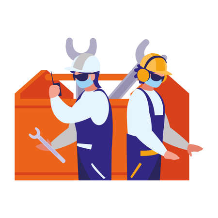 men working with tools and mask vector illustration design Illustration