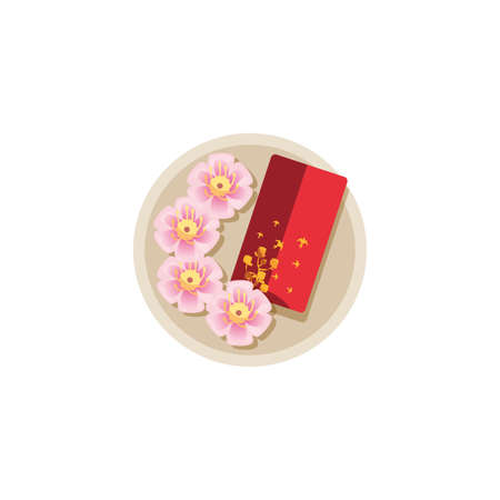 Chinese flowers and red card design, China culture asia travel landmark famous asian and oriental theme Vector illustration  イラスト・ベクター素材