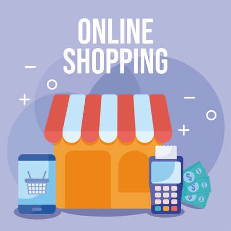 store with tent and icons of online shopping vector illustration design