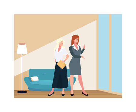 businesswomen in the living room with different poses vector illustration design