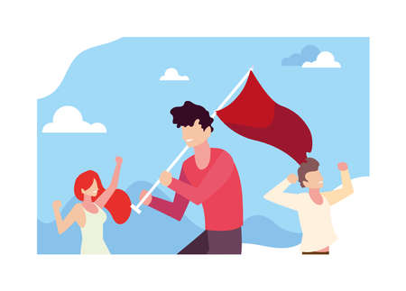group of people holding a red flag vector illustration design